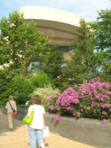 Kate walking up to the National Museum of the American Indian