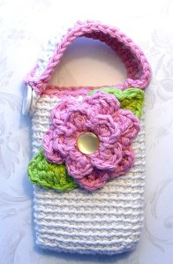 Handmade crochet multi-purpose case with flower by cuteinspirations, $12