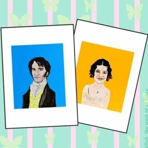 Mr. Darcy and Miss Bennet, two print portraits by elloh, $30