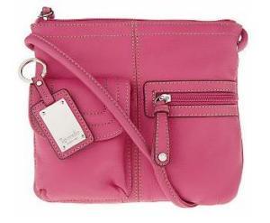 Tignanello Pebble Leather Crossbody Organizer Bag in hot pink, QVC.com, $52.80