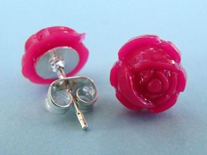 Pink rose studs by tizzalicious, $6.50