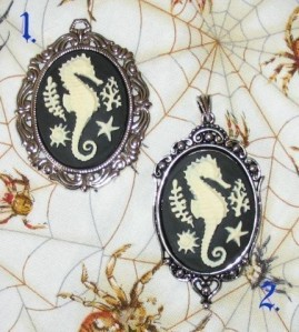 Skeletal seahorse cameo pendant by agonysdecay, $10