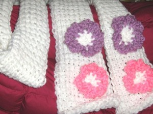 White scarf with pink & purple flowers by writemeg, $12