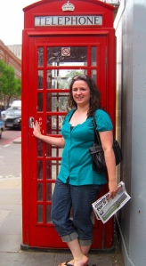 At one of the famous red phone booths