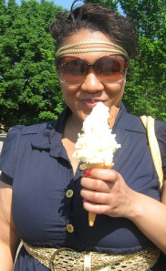 Stacy and the famous ice cream at Hampton Court