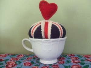 Hail Brittania teacup pincushion by KellyHendersonDesign, $22