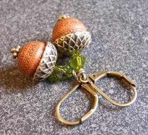 Perfect acorns brass earrings by BeadsByEvelyn, $14