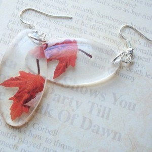 Fall leaves translucent resin earrings by UnderGlass, $15