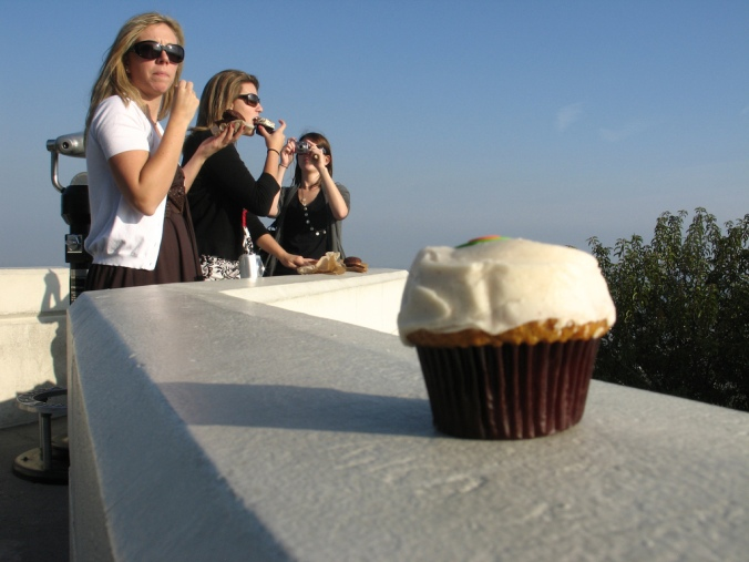 Eating our Sprinkles cupcakes at Griffith Observatory