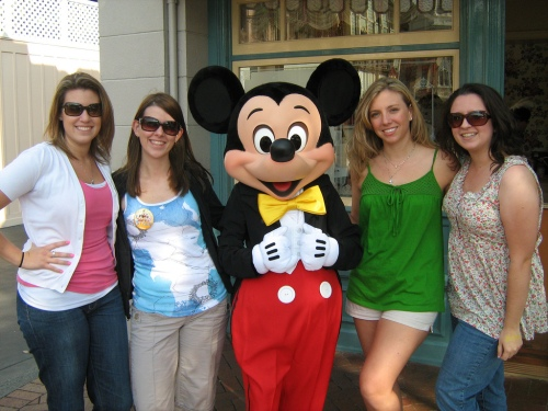 Kim, Nichole, Elizabeth and Meg with Mickey