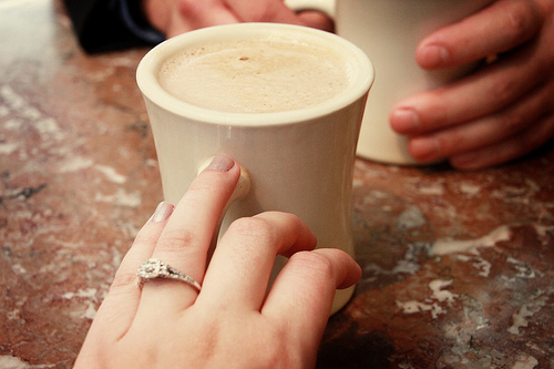 Engagement ring and coffee