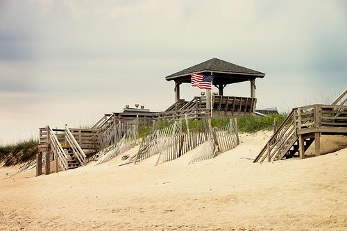 Beach with flag
