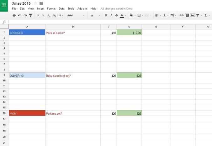 Xmas spreadsheet